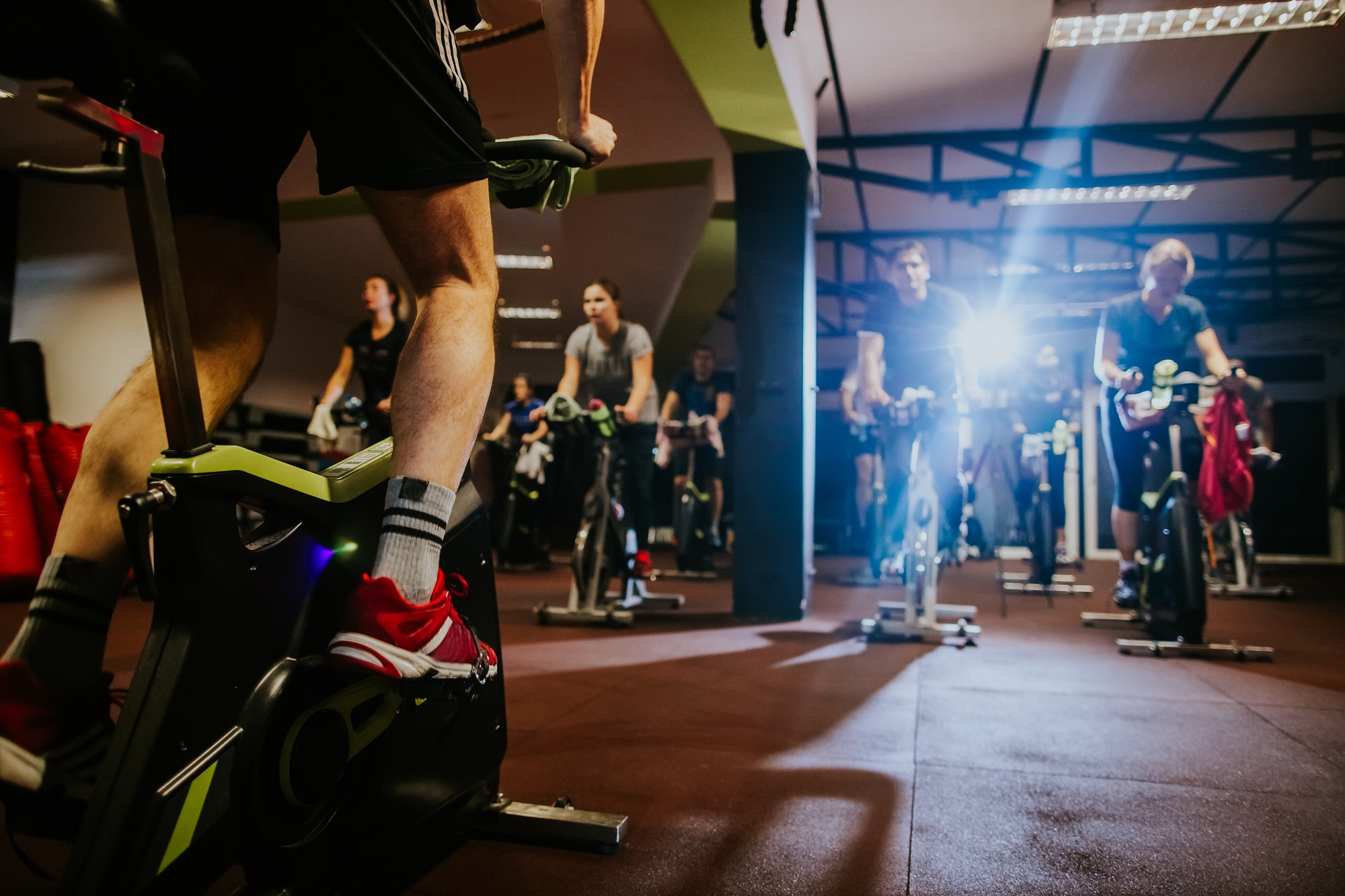 cycling class group indoors